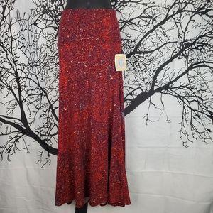 LuLaRoe Maxi Skirt Red & Purple Speckled Print XXS